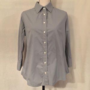 J. Crew 3/4 sleeve grey button down shirt